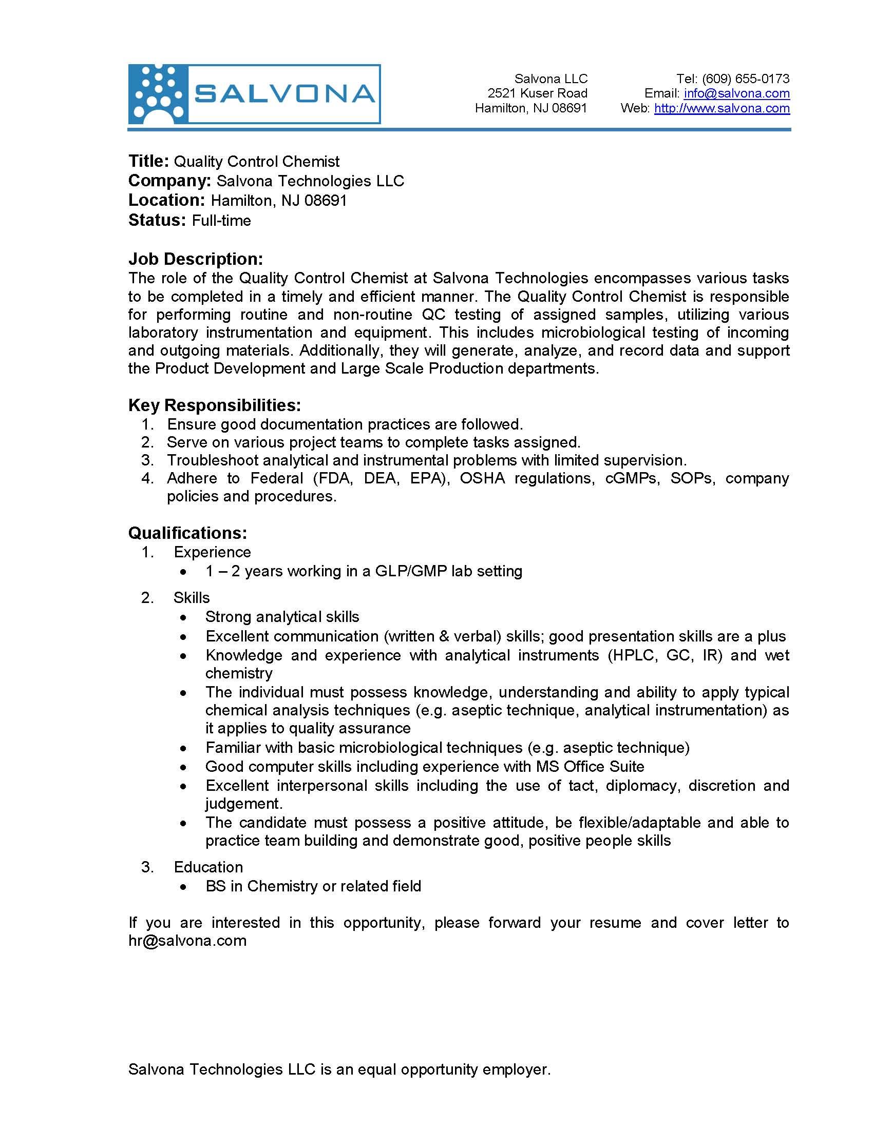 senior scientist sterile formulation qc chemist jobs - Sample Chemist Resume